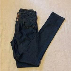 bfb6a4cf6cf Denim - Women s high waisted dark blue stretch jeans